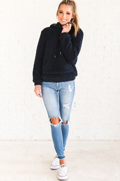 Navy Blue Faux Fur Shearling Teddy Hoodies Affordable Online Boutique