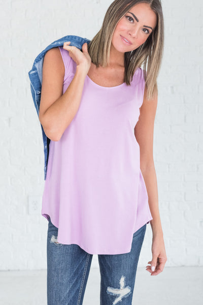 Lilac Lavender Purple Cute Tank Tops for Workout and Layering