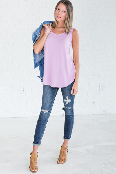 Light Purple Tank Tops from Affordable Online Boutique