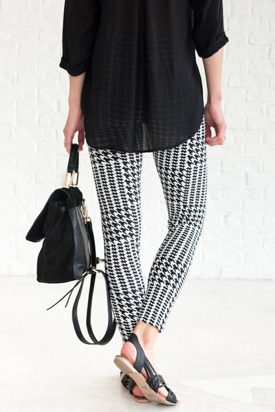 Black White Houndstooth Striped Stretchy One Size Leggings