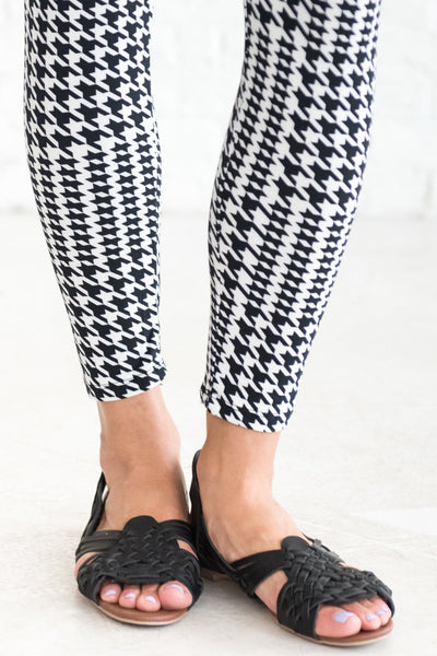 Black Houndstooth Cute Buttery Soft Leggings for Women