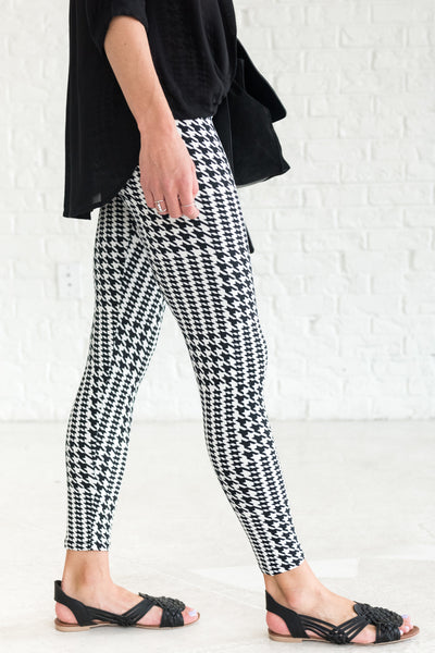 Black White Houndstooth Cute Affordable Leggings for Women