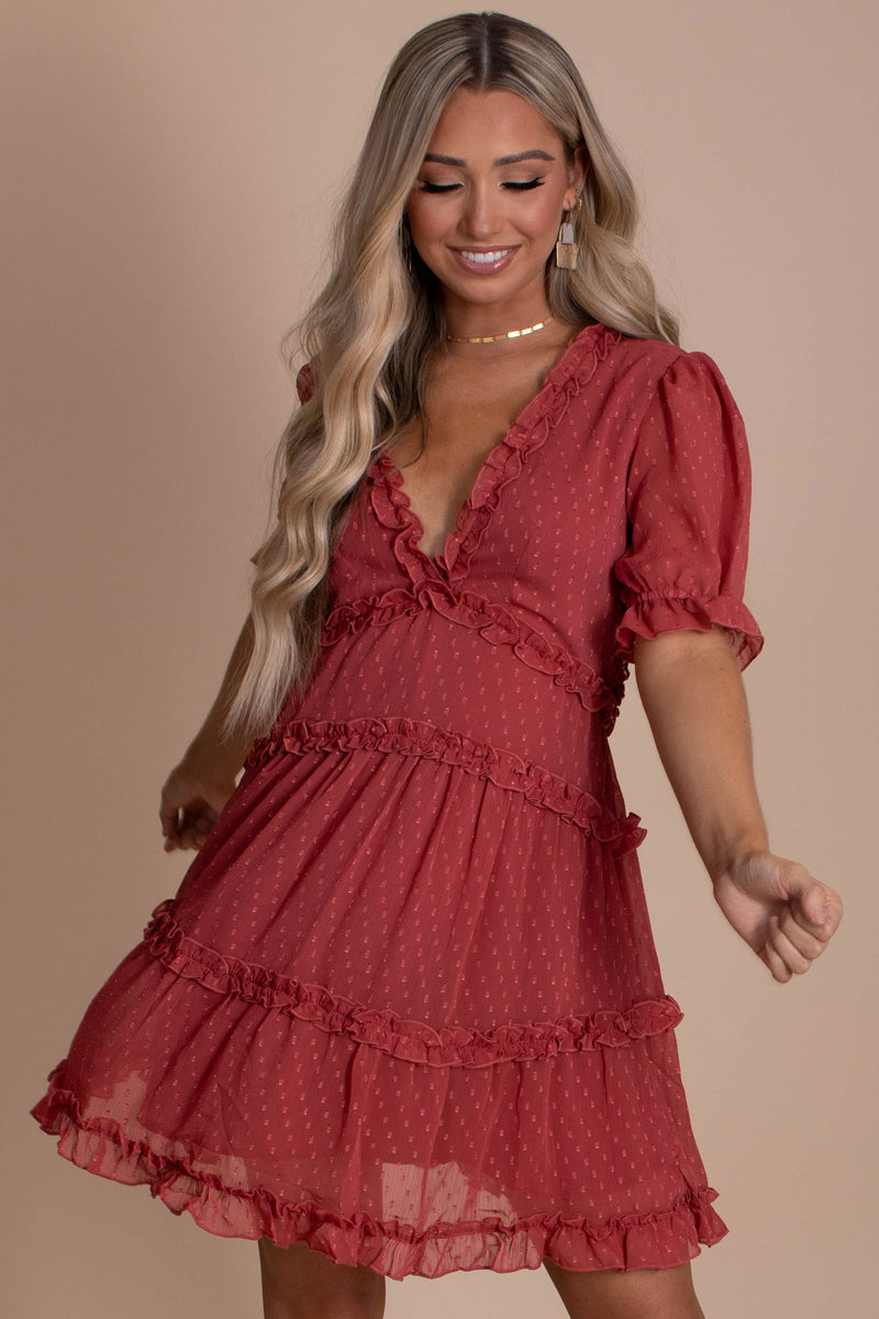 Looking Up Tiered Mini Dress - Red