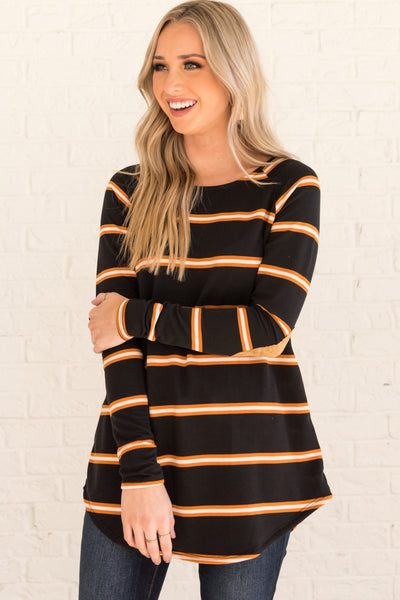 Black Orange White Striped Cute Long Sleeve Elbow Patch Tops for Women