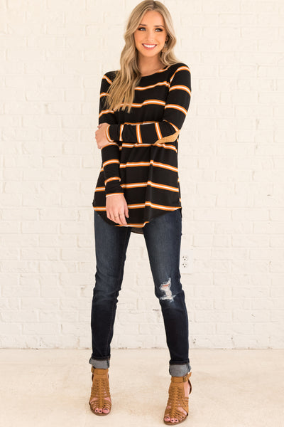 Black Long Sleeve Elbow Patch Top with Orange and White Striped Pattern