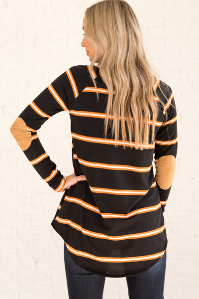 Black Orange Striped Long Sleeve Elbow Patch Tops Affordable Online Boutique