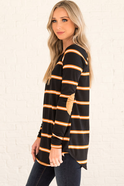 Black White Orange Striped Cute Boutique Long Sleeve Elbow Patch Faux Suede Tops