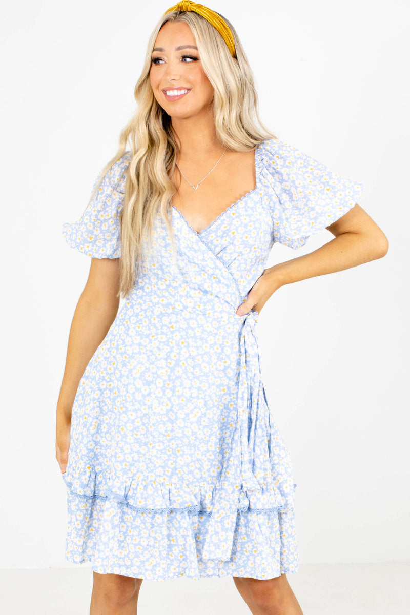 Lost in Love Blue Floral Knee-Length Dress