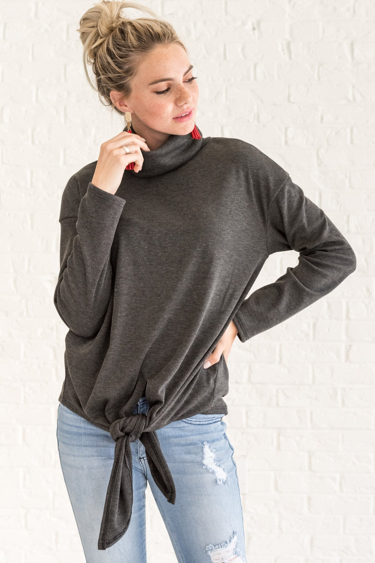 charcoal gray cute tie front turtleneck pullover tops for fall and winter
