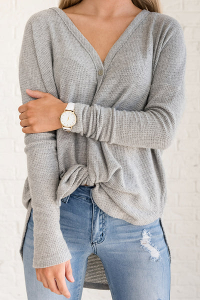Gray Lightweight Oversized Cute Button Up Cardigans