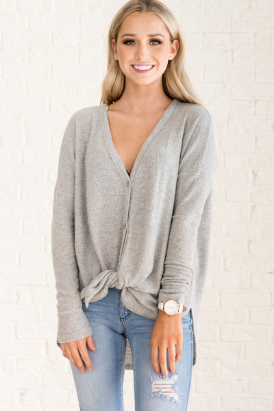 Gray Long Oversized Boyfriend Cardigan with Buttons