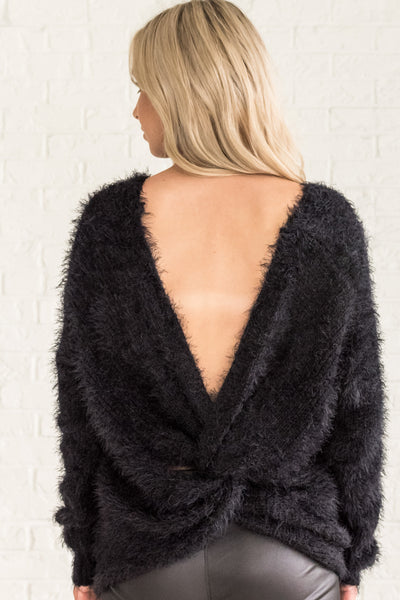 Black Deep V Surplice Twist Infinity Knot Open Back Fuzzy Sweaters for Winter