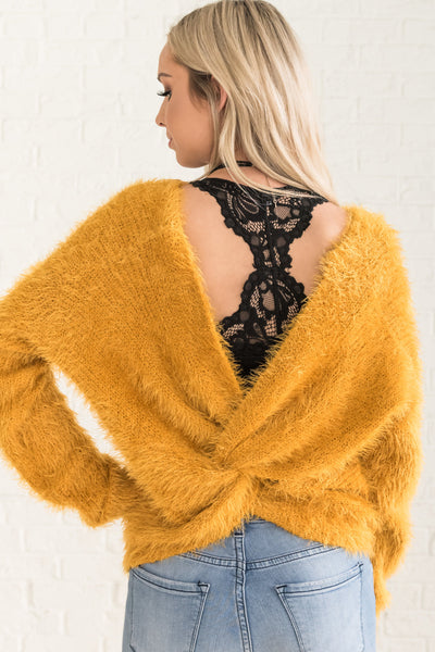 Yellow Eyelash Knit Fuzzy Pullover Sweaters Cozy Winter Warm Clothing Open Back