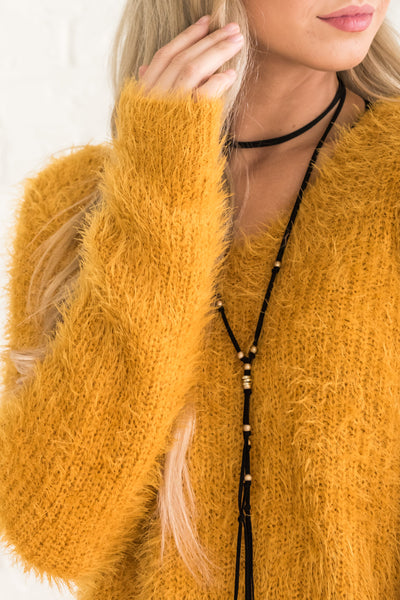 Yellow Fuzzy Knit Sweater with Twist Open Back Infinity Knot