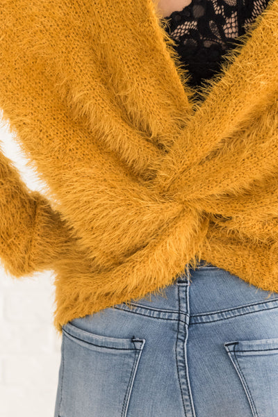 Yellow Fuzzy Sweaters for Cozy Warm Clothing Womens Online Boutique