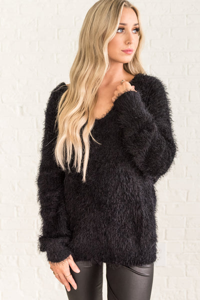 Black Fuzzy Knit Pullover Sweater Infinity Knot Open Back Twist Cozy Warm Clothing