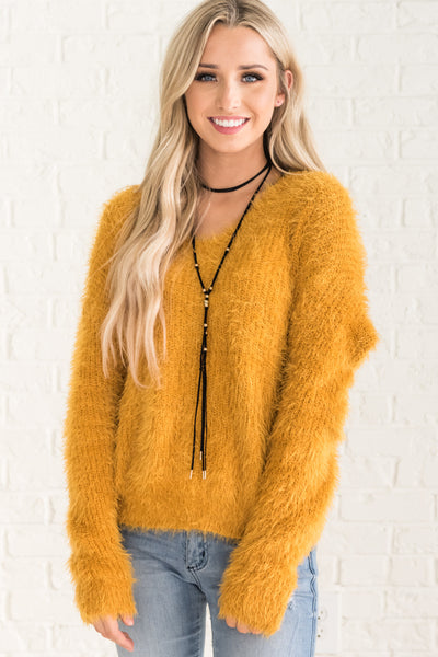 Yellow Fuzzy Infinity Knot Open Back Pullover Sweaters for Winter