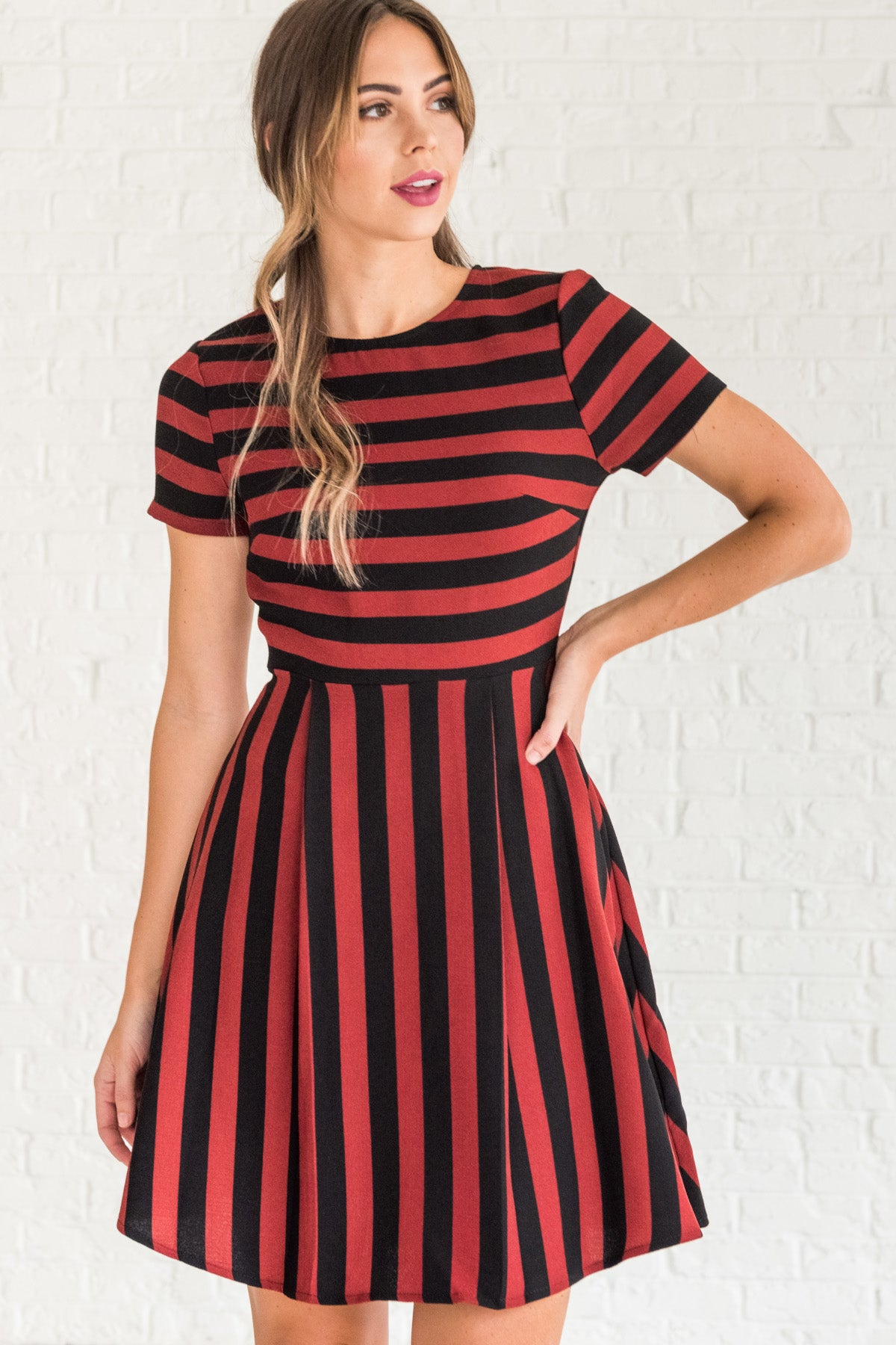Burgundy Red Black Striped Party Skater Flare Mini Dresses