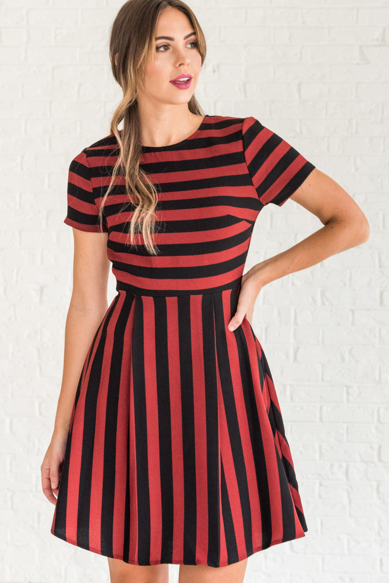Love Potion Burgundy Striped Mini Dress