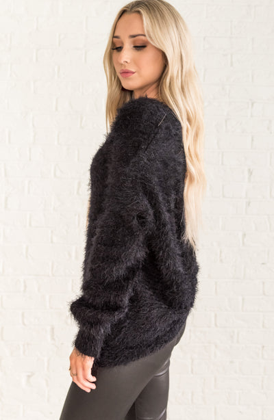 Black Fuzzy Infinity Knot Twist Open Back Sweaters from Affordable Online Boutique