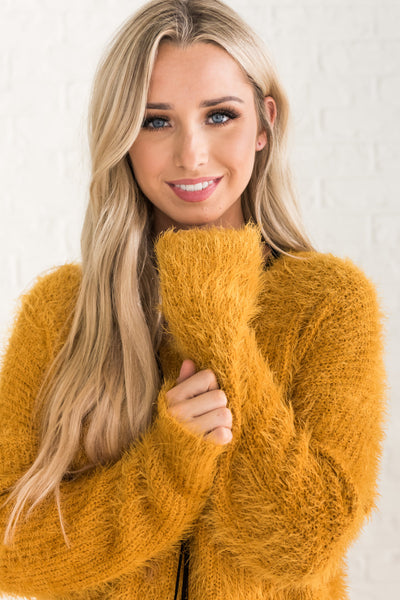 Mustard Yellow Surplice Fuzzy Twist Open Back Cutout Sweaters