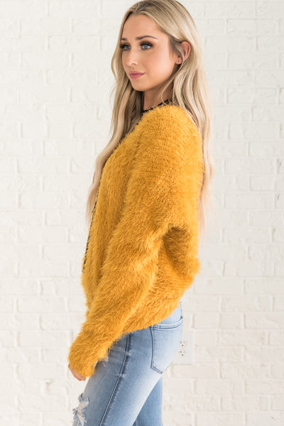 Mustard Yellow Fuzzy Sweaters Twist Back Open Cutout Cute Womens