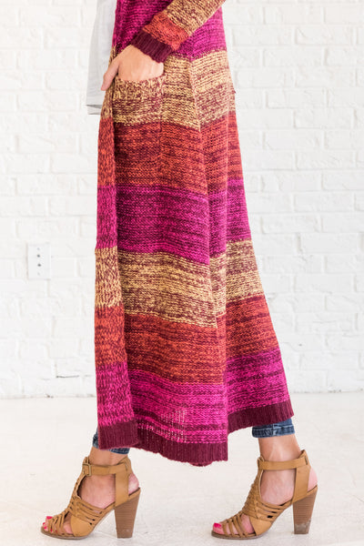 Pink Yellow Orange Burgundy Striped Sweater Knit Floor Length Cardigans for Winter