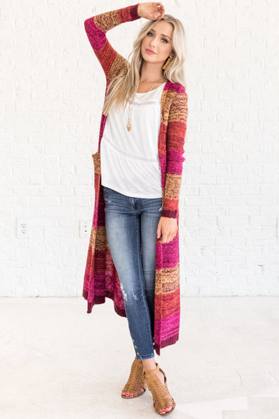 Pink Orange Yellow Warm Colored Striped Long Cardigan Sweaters