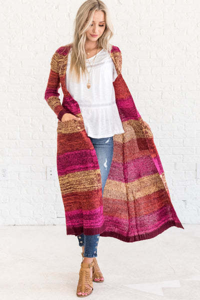 Pink Orange Burgundy Yellow Cable Knit Floor Length Cozy Warm Winter Clothing  Duster Cardigan Sweater