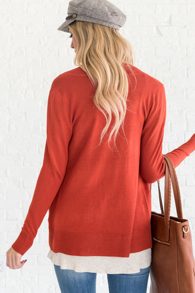 Rust Orange Cute Cardigans