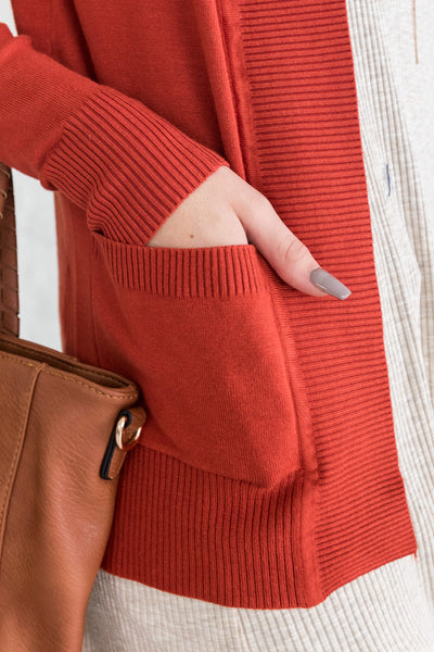 Rust Orange Cardigan with Pockets