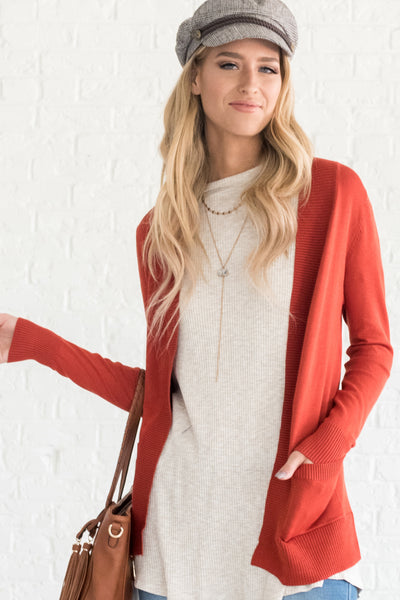 Rust Orange Lightweight Summer Cardigans