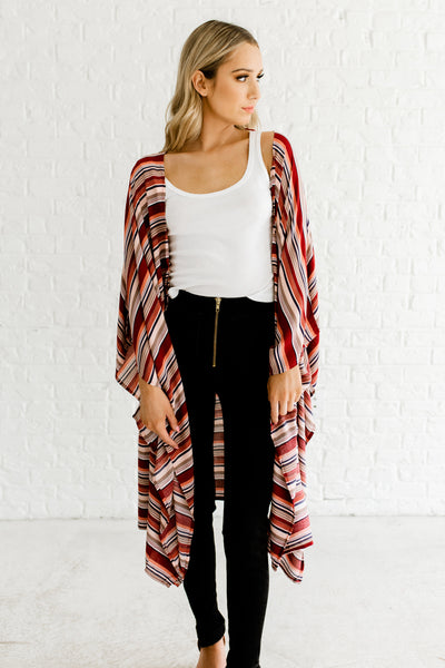 Red Navy Striped Boutique Kimonos for Women Spring Summer