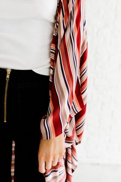 Red Navy Taupe Coral Striped Cute Spring Summer Oversized Kimonos