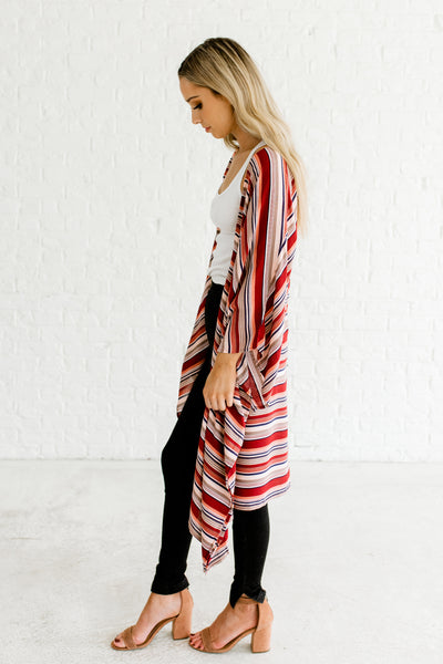 Red Multicolor Striped Boutique Kimono Cardigans for Women