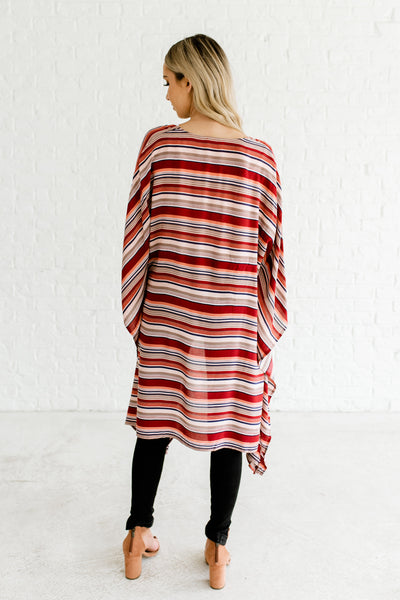Red Navy Taupe Peach Coral Striped Lightweight Kimono Outerwear