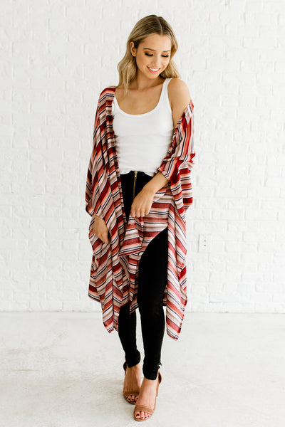 Burgundy Red Navy Taupe Beige Striped Kimonos for Layering