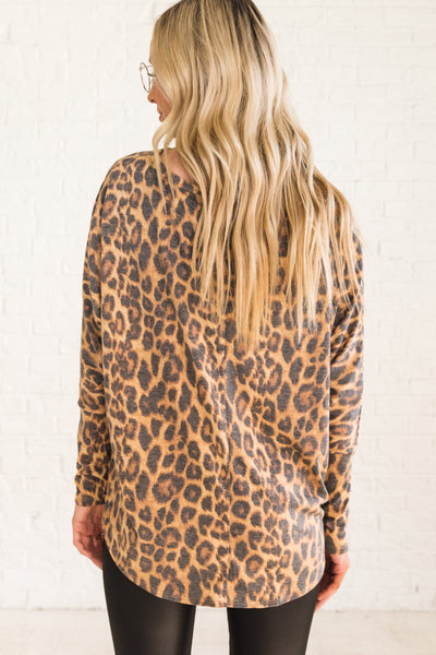 Leopard Print Cute Boutique Tie Front Tops with Dolman Sleeves
