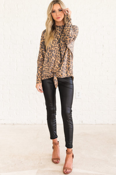 Leopard Print Boutique Tie Front Tops for Womens Fall Winter Fashion