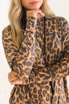 Leopard Animal Print Long Sleeve Tie Front Tops Affordable Online Boutique