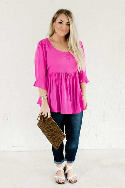 Magenta Pink Plus Size Peplum Ruffle Drawstring Babydoll Tops and Blouses