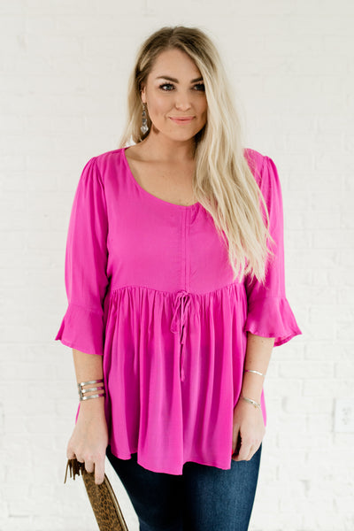 Magenta Pink Cute Plus Size Drawstring Ruffle Peplum Baby Dolls Tops Affordable Online Boutique