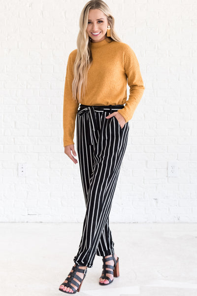 Black White Vertical Striped Cute Flare Palazzo Pants Business Casual