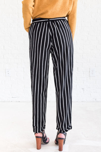 Black White Vertical Striped Cute Palazzo Pants for the Office