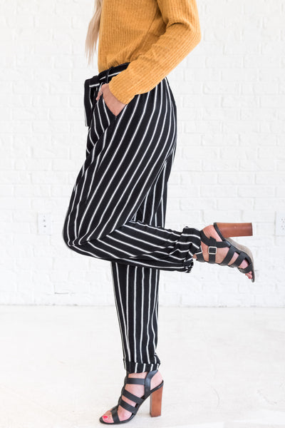 Black White Striped Going Out Flare Palazzo Pants for Women