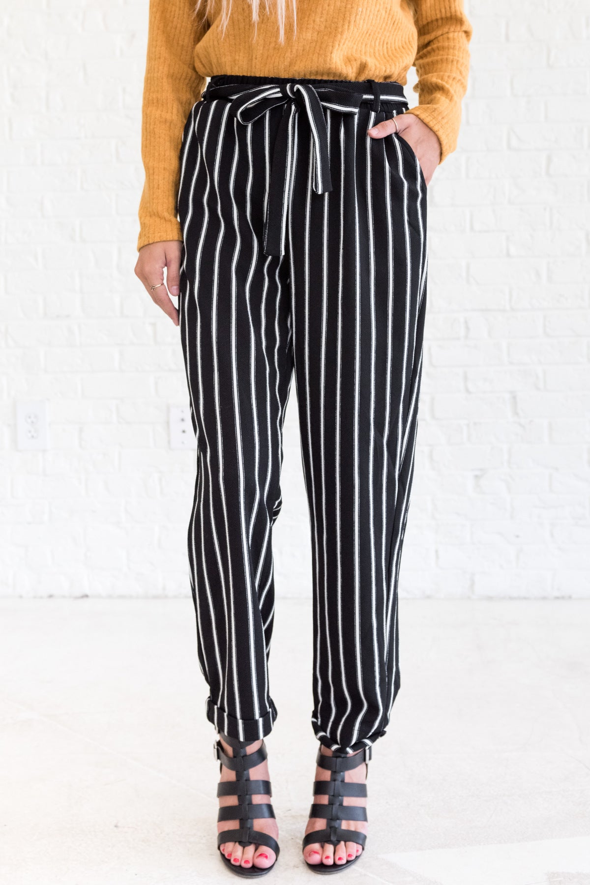 Black White Striped Flare Palazzo Pants with Tie Front and Pockets