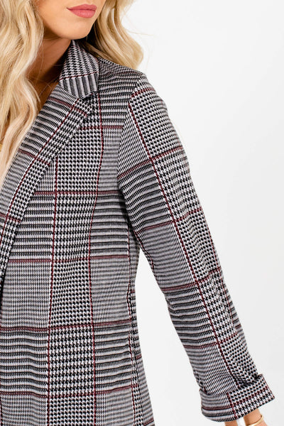 Gray Houndstooth Plaid Blazers Affordable Online Boutique
