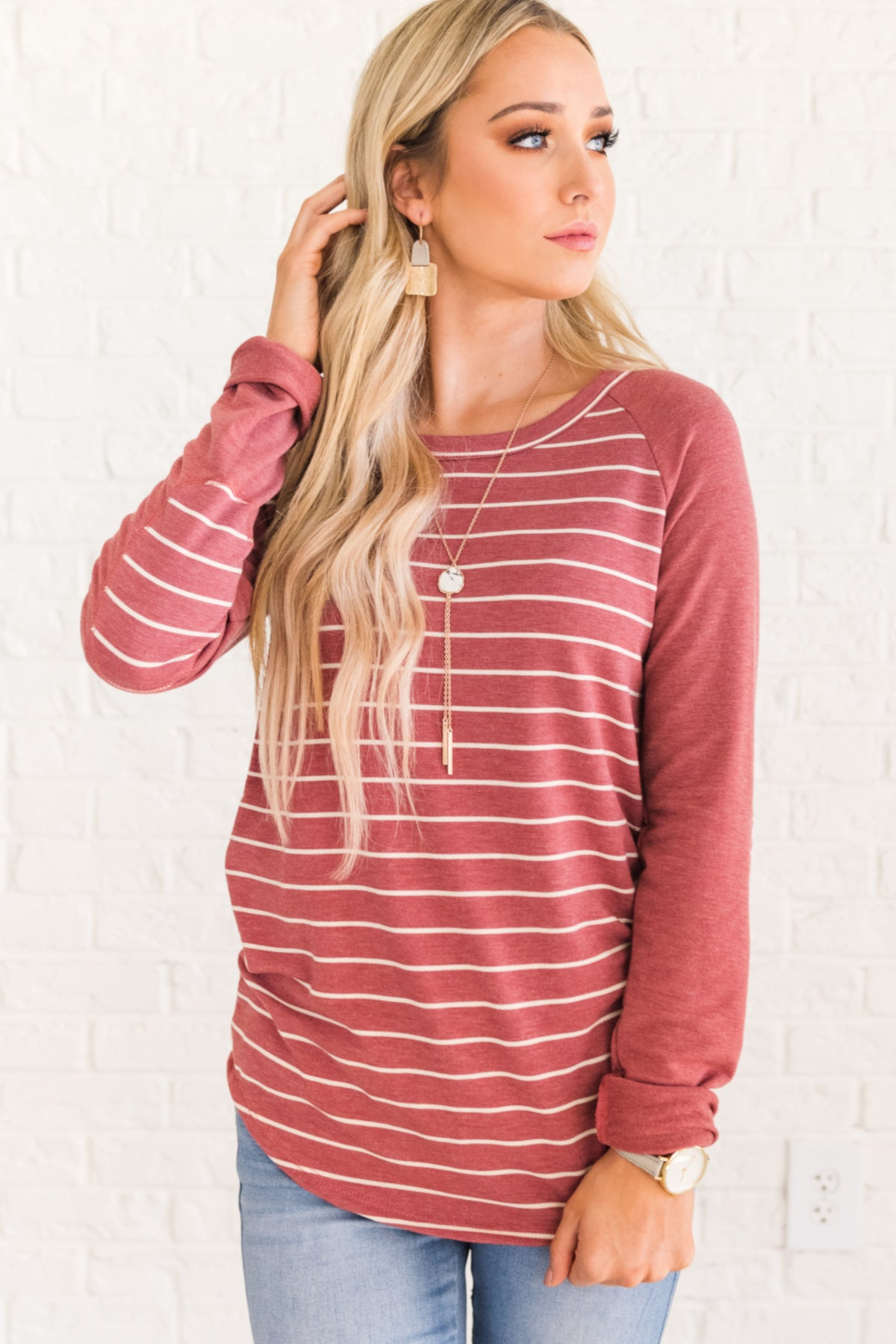 Marsala Red Cute Long Sleeve Raglan Baseball Striped Elbow Patch Tops