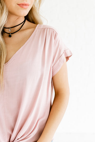 Light Mauve Pink Infinity Knot Boutique Business Casual Tops