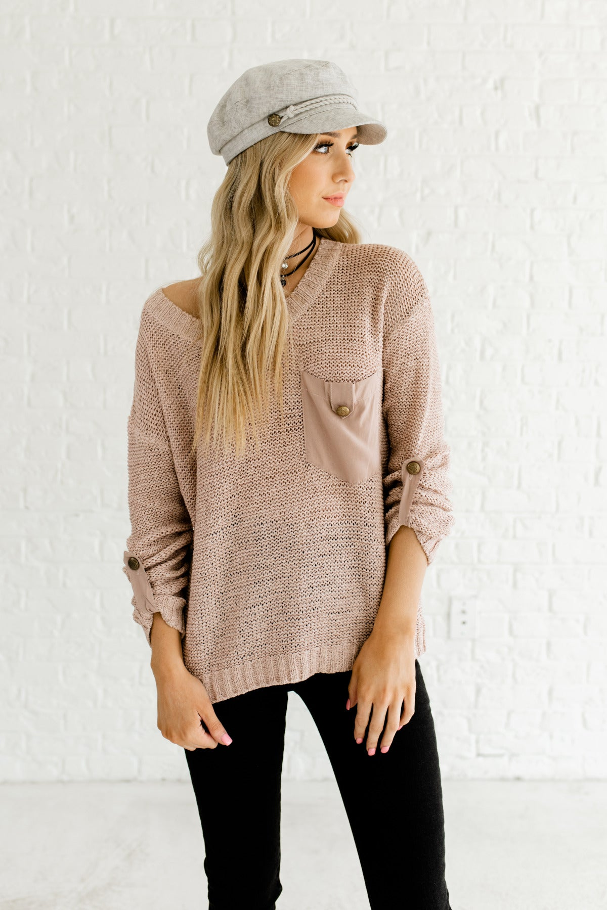 Cute as a Button Mauve Knit Sweater